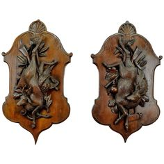 Pair of Antique Black Forest Carved Wood Game Plaques of a Deer and Pheasant 1
