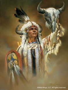 Original oil painting by Russ Docken entitled, ''Legend of the White Buffalo'' depicting a Native American warrior performing a dramatic ceremony with a bison skull. Native American Paintings, Native American Wisdom, Native American Pictures, Native American Beauty, Indian Pictures, Native American Artists, American Indian Art, Native American History, Indian Paintings