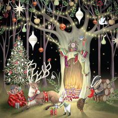 Natale-Festosa shabby chic NATURALE Pupazzo di Neve Natale Calza Bird tessuto di cotone