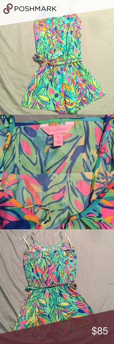 XS Lilly Pulitzer Romper!! This Lilly Pulitzer romper is 100% authentic!! The print is called Multi Hot Spot!! No tears, snags, or blemishes whatsoever! It's too small for me now so sadly I have to sell it. It's been gently worn a few times but still in like brand new condition! The straps are adjustable and the waist has an elastic band with a strap to tie in the front! You can also wear the romper with out the strap on the waist if preferred! Lilly Pulitzer Other