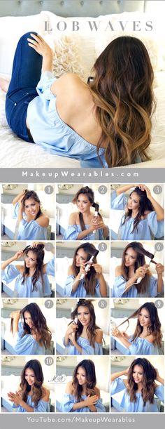 Lob Waves using dry hair serum for lasting, weightless shine #hairstyles #ad #suavebeliever