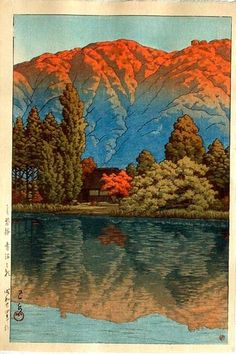 """""""Kawase Hasui (1883-1957): Morning at Aomuna Pond, Urabandai, 1949"""" Love his work, but think of it as being dark and moody. Night or rain often involved. Love his colour palette in this work, too. S"""