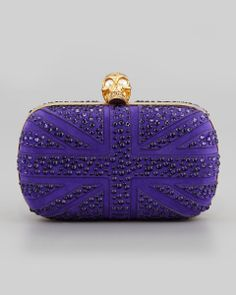 Alexander McQueen | Crystal Britannia Box Clutch Bag, Purple #alexandermcqueen #clutch