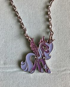 Fine silver plated luna purple unicorn my little pony pendant princess luna mlp necklace slight tarnishing on the back of the pendant and along parts of aloadofball Gallery