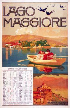 1896 Lago Maggiore, Orario 1 giugno 1896 Archivio Iconografico del Verbano Cusio Ossola Svizzera poster viaggio
