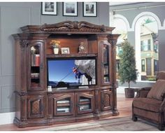 "Grandview 4Pc Deluxe Space Saver Wall Unit At 48"". I love this color of wood."