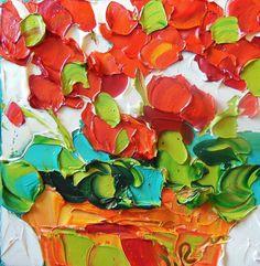 Original Oil Painting  Bright Red Geraniums Impasto Palette Knife Art