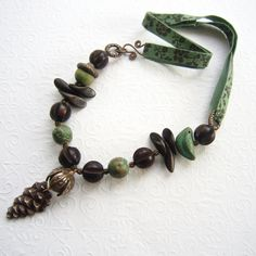 Mixed media artisan necklace woodland necklace by THEAjewellery, £49.00