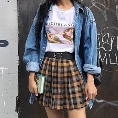 "90s★vintage★alternative on Instagram: ""Q : cake or donuts? A : donuts🍩 ""it's okay to see a therapist."" . . . . . . #grunge #grungegirl #grungestyle #grungefashion #grungyteens…"" Oversized Tee, Girl Closet, Fabric Weights, Mood Boards, We Heart It, High Waisted Skirt, Collection, Denim, Tees"