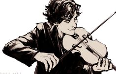 Look at him, playing his violin... all happy. Probably still has blood on his hands from the murder earlier. NOT SHERLOCKS OF COURSE!