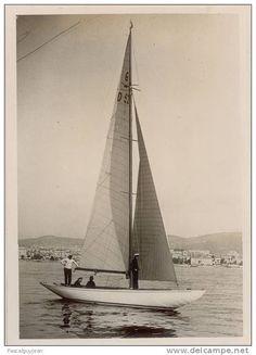 """King Christian of Denmark aboard the 6mR Elisabeth II"""