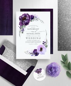 Eggplant Purple Peony and Greenery Silver Wedding Invitation Aubergine Wedding, Eggplant Wedding Colors, Fall Wedding Colors, Wedding Ideas Purple, Purple Summer Wedding, Lavender Wedding Colors, Purple Wedding Decorations, Lavender Weddings, Floral Wedding