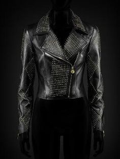 versace collection - we want one! Moto Jacket, Leather Jacket, Leather Coats, Versace, Rock Style, Girlfriends, Black And White, How To Wear, Jackets
