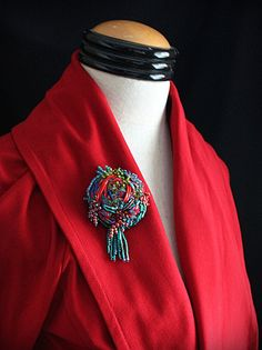LITTLE SUZE Beaded Textile Flower Pin Brooch by carlafoxdesign, $75.00