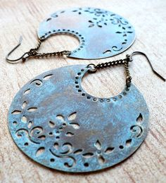 Blue Crescent Earrings by moderntrinkets (Etsy)