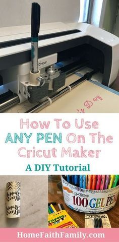 Cricut pens are expensive but I'm going to show you how you can use any pen on the Cricut Maker for any project. This free tutorial is perfect for your next craft. Keep reading to learn how and which pens work best on your Cricut machine. Mason Jar Crafts, Mason Jar Diy, Cricut Help, Cricut Air 2, Cricut Cake, Cricut Craft Room, Craft Rooms, Cricut Tutorials, Cricut Creations