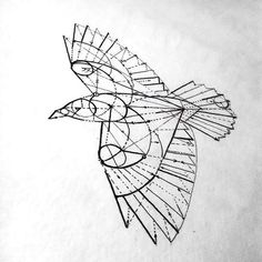 Great geometric crow or raven. Top Tattoos, Sexy Tattoos, Unique Tattoos, Body Art Tattoos, Hand Tattoos, Tatoos, Geometric Tattoo Raven, Geometric Drawing, Geometric Lines