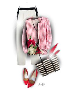 """""""Gingham and Roses"""" by rockreborn ❤ liked on Polyvore featuring Chloé, Christian Louboutin, Halogen and Nancy Gonzalez"""