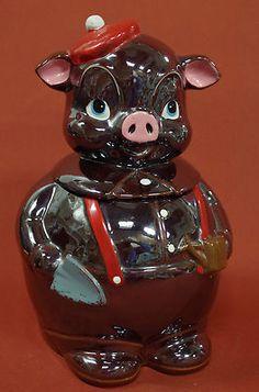 Vintage Japan Pig Cookie Jar Cold Paint Lustre Gardener Cute