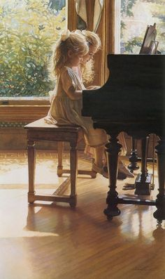 Little girls at piano by Steve Hanks
