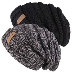 832bf6bfc25 Knitted Winter Slouchy Beanie Hat - FURTALK Oversized Unisex Crochet Cable  Ski Cap Baggy Slouch Hats