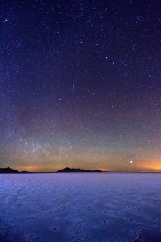 Big Dipper Stars and meteor over Bonneville Salt Flats near Wendover, Nevada -- about 100 miles from Salt Lake City, Utah, USA