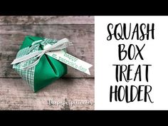 I'm calling today's project a Squash Box Treat Holder! Here's a view from the top: Here's what it looks like in the palm of my hand for a size reference: And here's a view from the side: My project is inspired by THIS project created by Annika Flebbe. I converted the measurements and then decided…