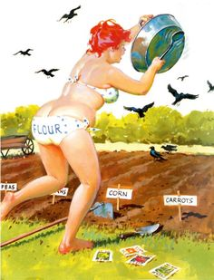 Hilda Shoo Birds my garden seeds poster pin up girl Duane Arte Pin Up, Pin Up Art, Pin Up Girls, Curvy Pin Up, Illustration, Full Figured, Big And Beautiful, Art Reproductions, Poster
