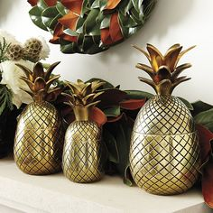 Ballard Designs Bunny Williams Pineapple Trio ($99) ❤ liked on Polyvore featuring home, home decor, holiday decorations, handmade home decor, traditional home decor, ballard designs and pineapple home decor