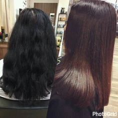 Before and after...balayage on dark hair  #balayage #dark #hair