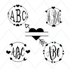 Arrow Monogram Svg, Circle Arrow Svg, Arrow Frame, Valentine, Wedding  Design,