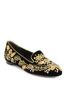 Alexander Mcqueen Acorn Embroidered Velvet Smoking Slippers in Gold (BLACK) | Lyst