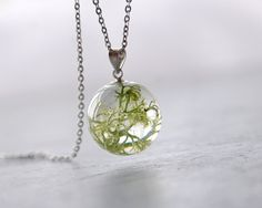 Real Lichen Necklace - light green resin pendant - nature mint lichen