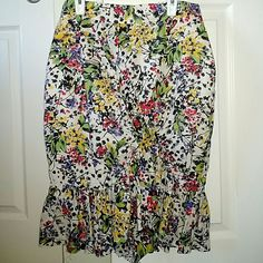 Anthropologie/Edme Esyllte Skirt Hustle and Bustle skirt.  Floral. Red, blue, green, yellow, black and white.  Cute gathered detail. Anthropologie Skirts Midi