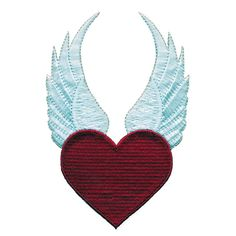 RED HEART Love Devil Wings Biker Motorcycle Jacket Embroidered Sew Iron on Patch