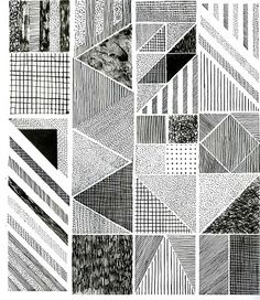 Hannah Waldron Use of line variations to create texture Pattern Art, Pattern Design, Textures Patterns, Print Patterns, Monochrome Pattern, Monochrome Print, Motifs Textiles, Still Life Drawing, Abstract Drawings