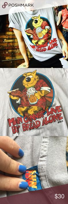 70's Vintage Sun Soft tee Man Cannot Live by Bread Alone Pun tee. Made in the 70's in USA. Somsoft. Says large but I think it will fit a medium the best. Vintage Tops