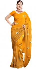 Orange Color Traditional Georgette Saree Gota Patti Work. Abouts Here: http://www.ranas.com
