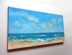 Items similar to Beach painting, long horizontal beach art. Turquoise water and waves textured ocean painting on Etsy Landscape Drawings, Watercolor Landscape, Watercolor Paintings, Painting Inspiration, Art Inspo, Beach Wall Decals, Turquoise Water, Beach Art, Original Artwork