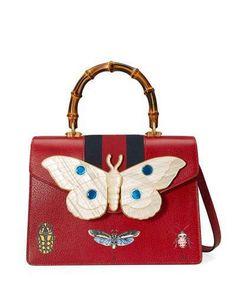 Gucci Falena Medium Moth Top-Handle Bag with Blue/Red Web