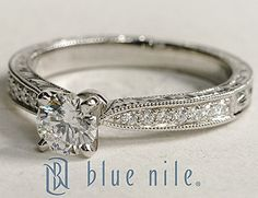 Engraved Micropavé Round Diamond Engagement Ring in Platinum #BlueNile