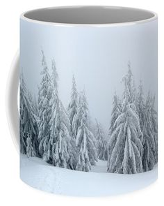 Mysterious snowy woodland in black and white. Snowy Trees, Nature Artists, Nature Artwork, Mugs For Sale, Botanical Art, Winter Time, Basic Colors, Great Artists, Mysterious