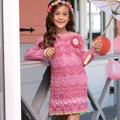 Ажурное платье с воланом для девочки
