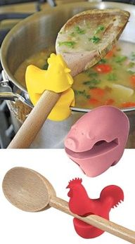 What a neat idea! Pot Clip, Silicone Spoon Holder to keep messy spoons off of the kitchen counter