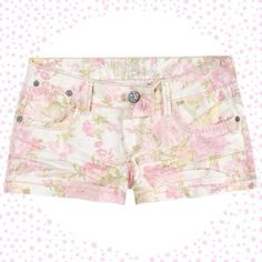 HP Floral Denim Shorts Femininely floral with beautiful pinks, yellows, and greens. Cuffed. Lots of stretch. 70% cotton, 28% polyester, 2% spandex. NWT Hippie Laundry Jeans