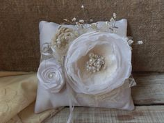 Wedding Ring Pillows Ivory ring pillow flower by SweetsOfLife4