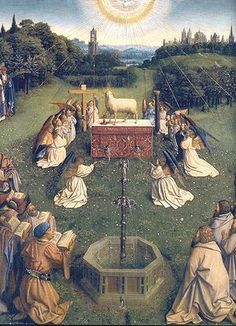 A medieval fountain, real or imagined, is featured in the Ghent Altarpiece by Jan Van Eyck, finished in 1432.