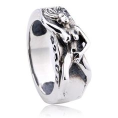 925 Sterling Silver Punk Sexy Girl Design Antique Ring Gift for Men