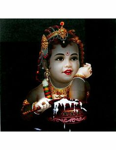 Krishna with Butter - Reprint on Card Paper - Unframed
