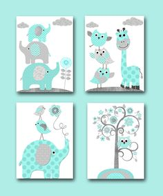 Baby Boy Nursery Wall Decor Elephant Wall Decor Giraffe Wall Decor Digital Print Instant Download Art Kids Room Decor set of 4 8x10 11X14 by nataeradownload on Etsy